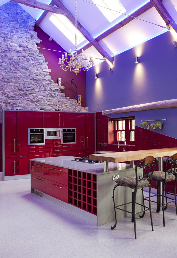 Modern High Gloss Red Kitchen With Silestone Worktops